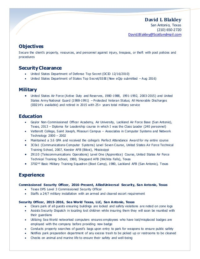 Blakley Security Officer Resume 2016