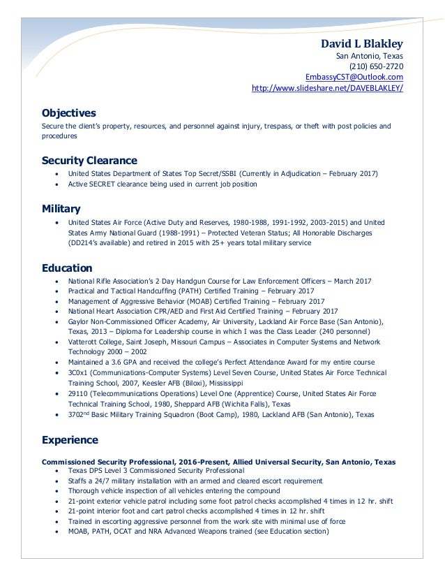 Blakley Security Officer Resume 2017. David L Blakley San Antonio, Texas  (210) 650 2720 EmbassyCST@Outlook ...