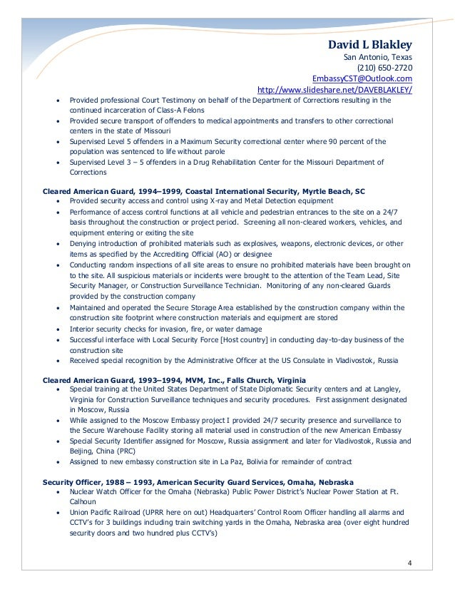 institutional investigations officer 4 - Nuclear Security Guard Sample Resume