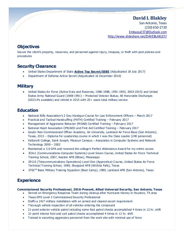 blakley security officer resume 2017 clearances updated