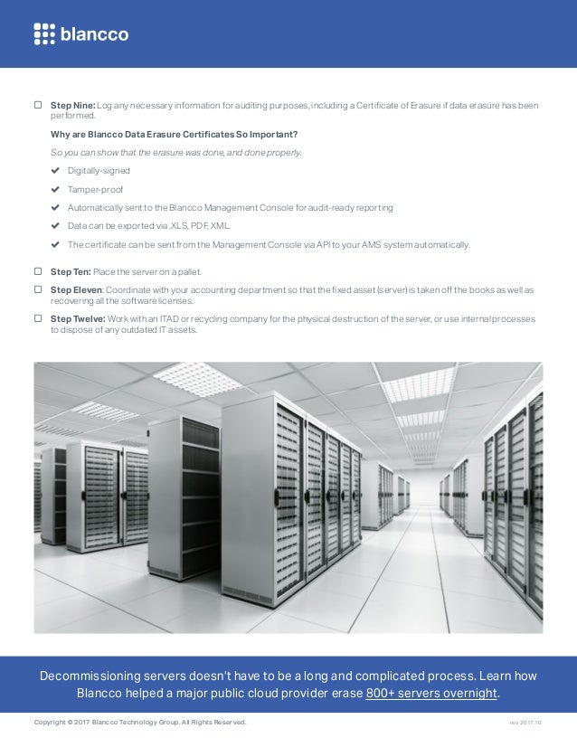 Blancco decommissioning checklist for data centers servers
