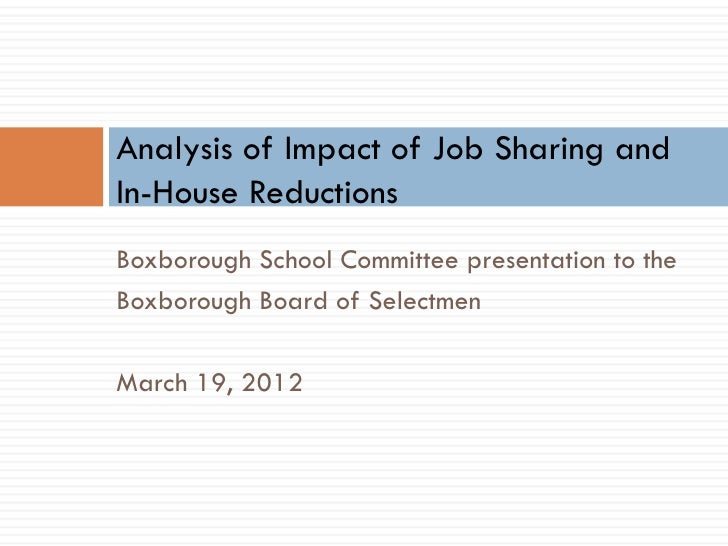 Analysis of Impact of Job Sharing andIn-House ReductionsBoxborough School Committee presentation to theBoxborough Board of...