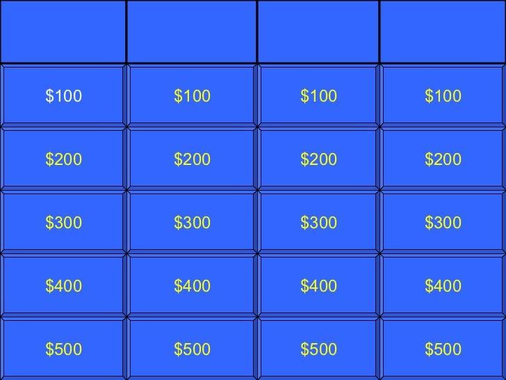Blank jeopardy template for Jepordy template