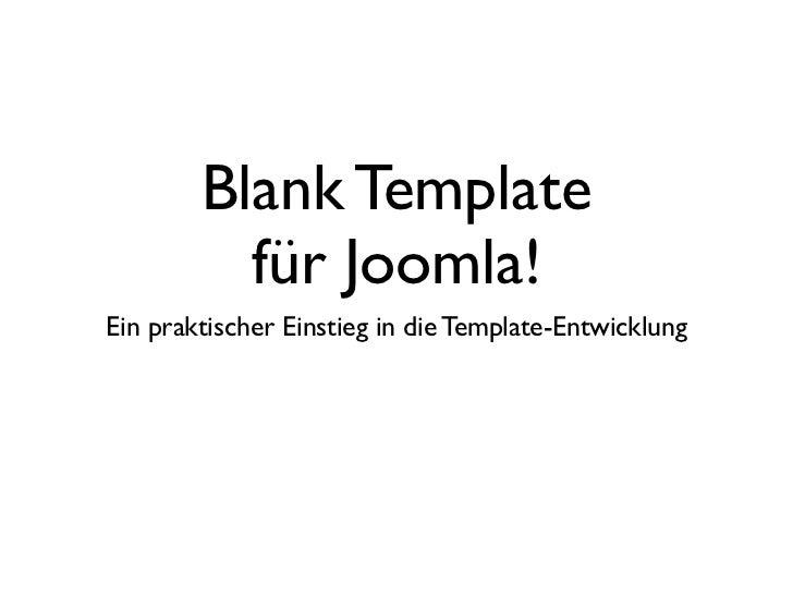 Blank Template Fur JoomlaEin Praktischer Einstieg In Die Entwicklung