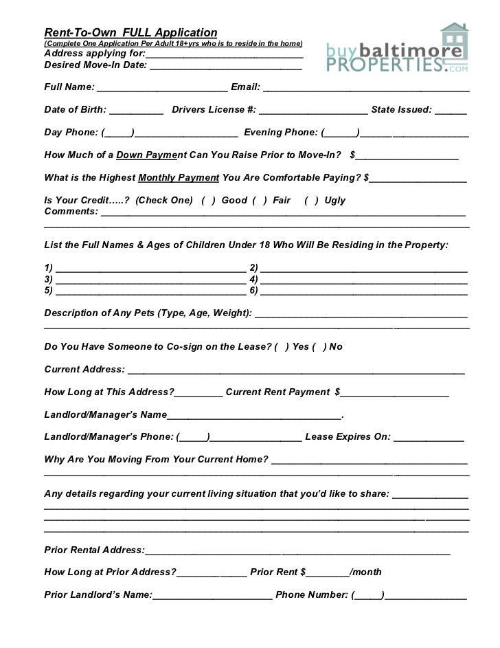 Rent To Own Application Form Peopledavidjoel