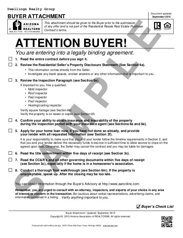 Captivating Blank Arizona Real Estate Purchase Contract (Residential Purchase Contract).  S A M P L E BUYER ATTACHMENT This Attachment Should Be Given To The Buyer  ... Regarding Blank Purchase Contract