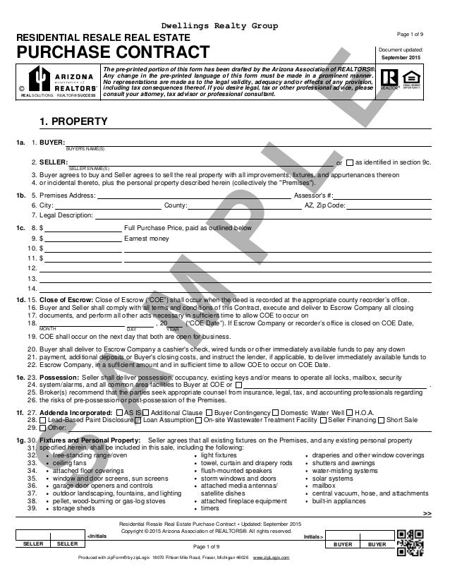 Blank Arizona Real Estate Purchase Contract Residential Purchase Con – Sample Real Estate Purchase Agreement Template