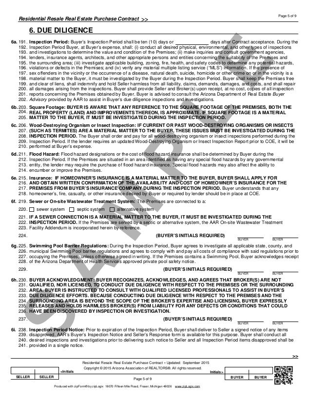 Blank Arizona Real Estate Purchase Contract Residential