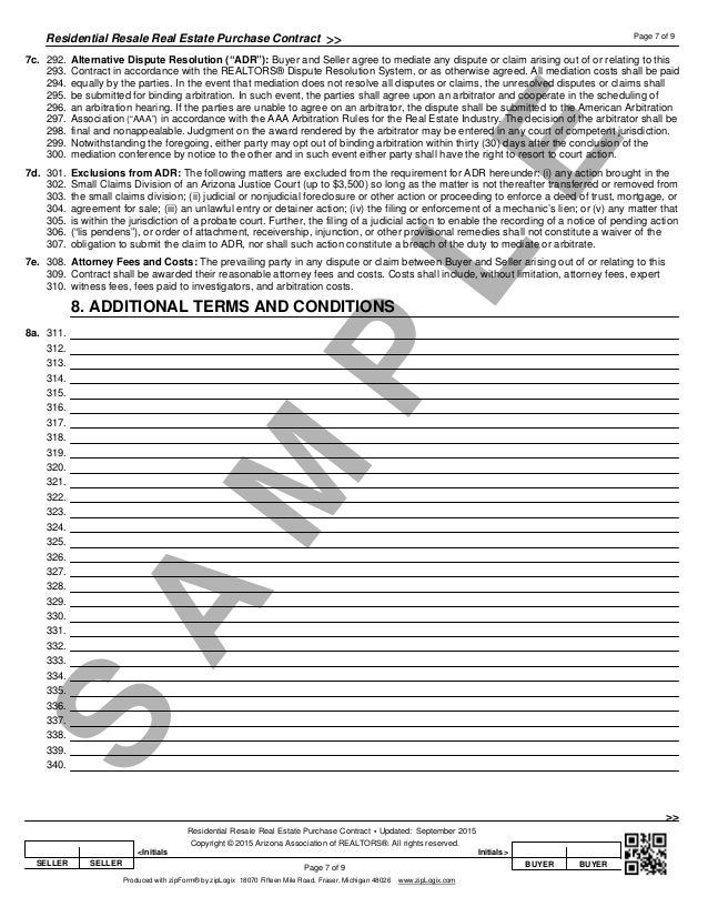 Blank Arizona Real Estate Purchase Contract Residential Purchase Con – Blank Purchase Contract