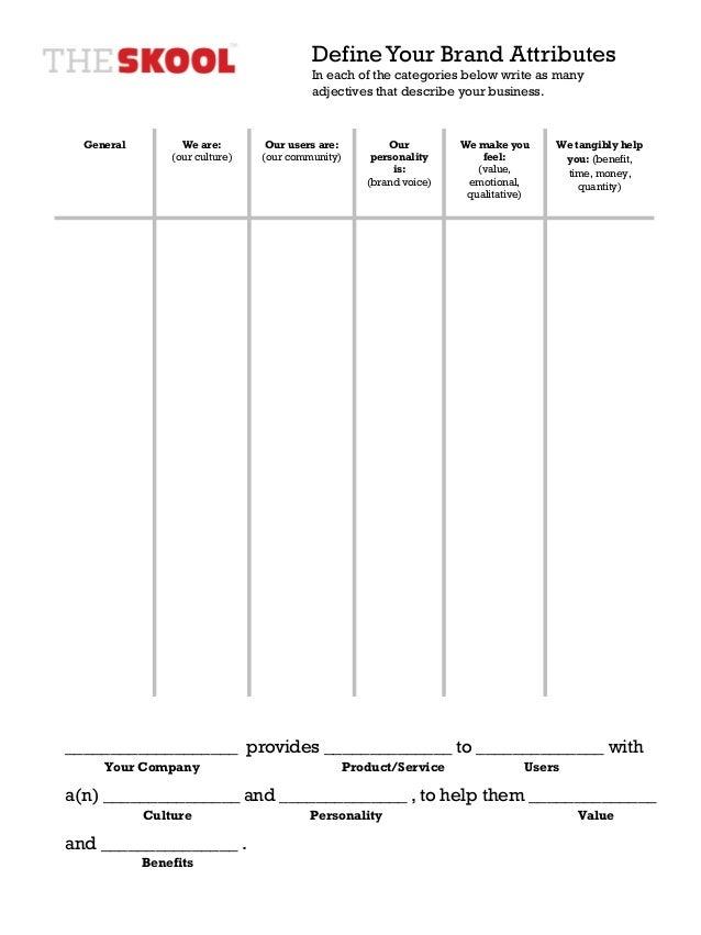 Blank Brand Attributes Worksheet – Define Worksheet