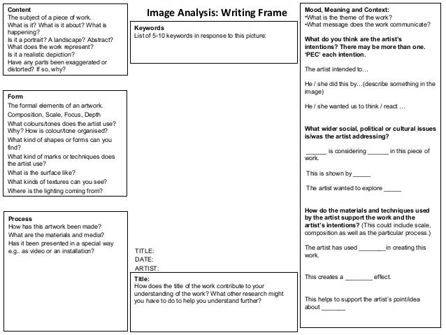 Blank critical analysis frame with prompts