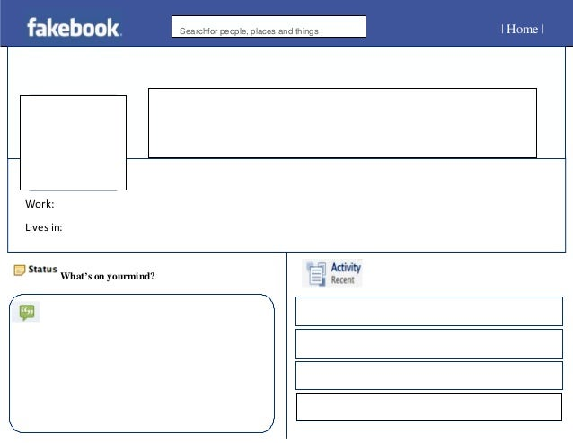 mock facebook page template - blank fakebook