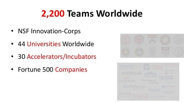 2,200 Teams Worldwide • NSF Innovation-Corps  • 44 Universities Worldwide • 30 Accelerators/Incubators  • Fortune 500 Comp...