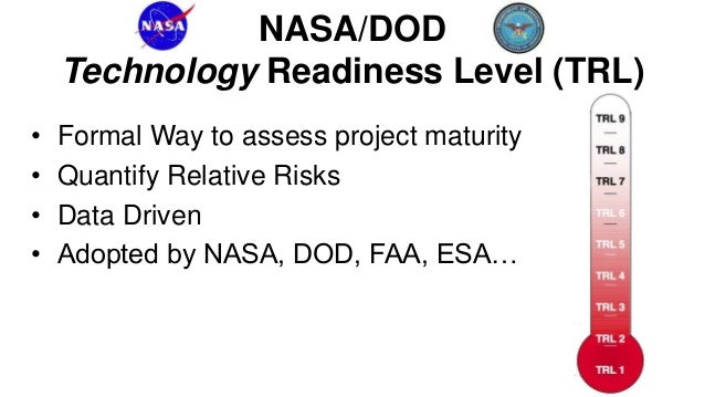NASA/DOD Technology Readiness Levels 7, 8, 9 Deployment • System Development • System deployed in real-world Demo  Researc...