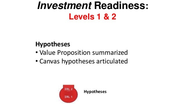 Investment Readiness: Levels 9 Metrics That Matter Left side of the canvas  Product/Market fit Problem/Solution  Hypothese...