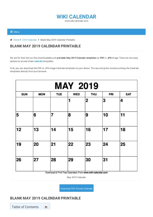 image regarding Printable May Calendars named Blank Might 2019 Calendar Printable