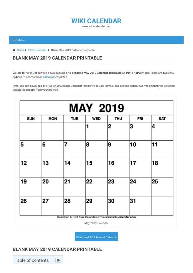 image regarding Printable May Calendars named Blank Might 2019 Calendar Printable