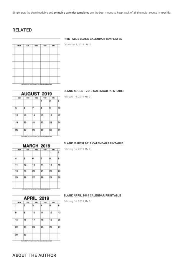 Blank May 2019 Calendar Printable