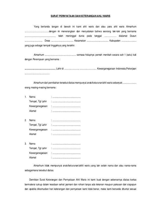 Blanko Surat Pernyataan Dan Keterangan Ahli Waris