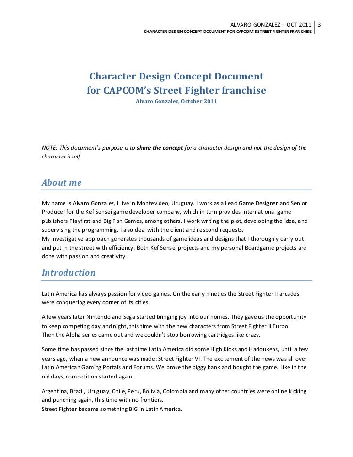 Street Fighter Game New Character Design - Character design document