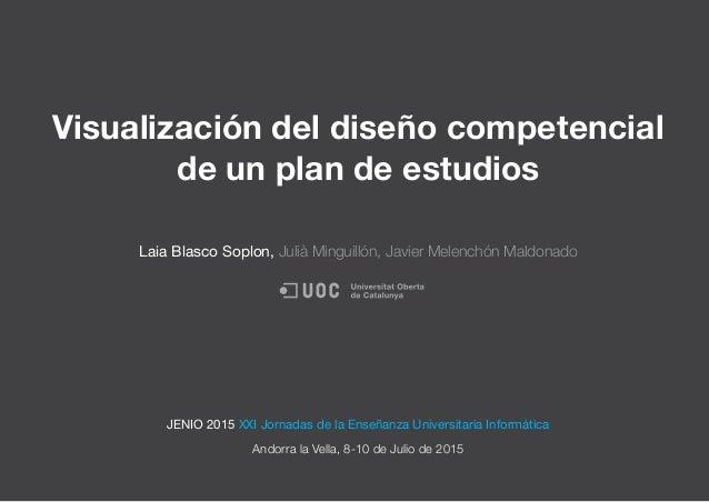 Visualización del diseño competencial de un plan de estudios Laia Blasco Soplon, Julià Minguillón, Javier Melenchón Maldon...