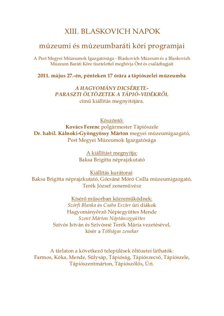 XIII. BLASKOVICH NAPOK  múzeumi és múzeumbaráti köri programjaiA Pest Megyei Múzeumok Igazgatósága - Blaskovich Múzeum és ...