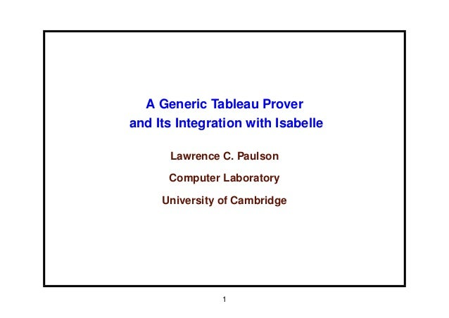A Generic Tableau Prover and Its Integration with Isabelle Lawrence C. Paulson Computer Laboratory University of Cambridge...