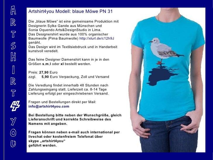 """A   Artshirt4you Modell: blaue Möwe PN 31  R   Die """"blaue Möwe"""" ist eine gemeinsame Produktion mit     Designerin Sylke Ga..."""