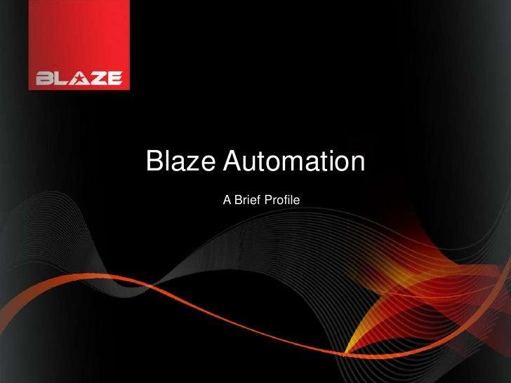 Blaze Automation <br />                      A Brief Profile<br />