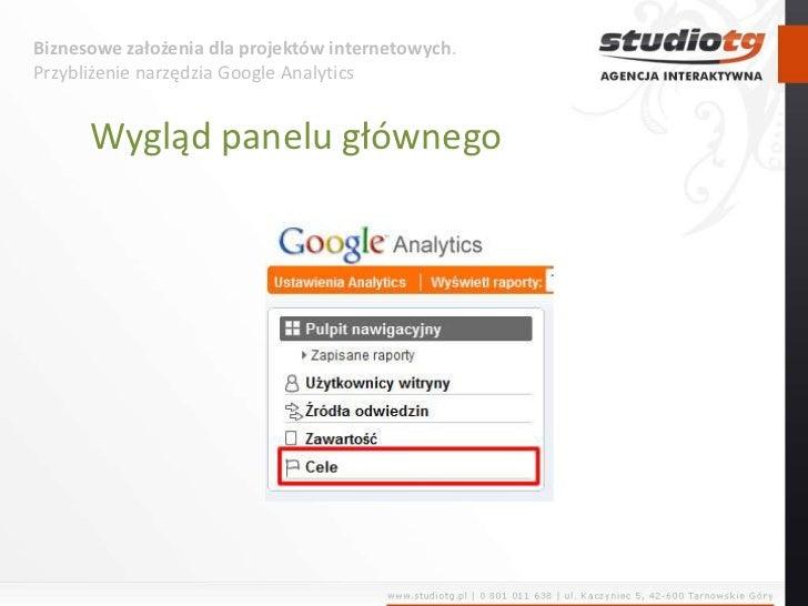 Biznesowe założenia dla projektów internetowych. Przybliżenie narzędzia Google Analytics<br />Wygląd panelu głównego<br />