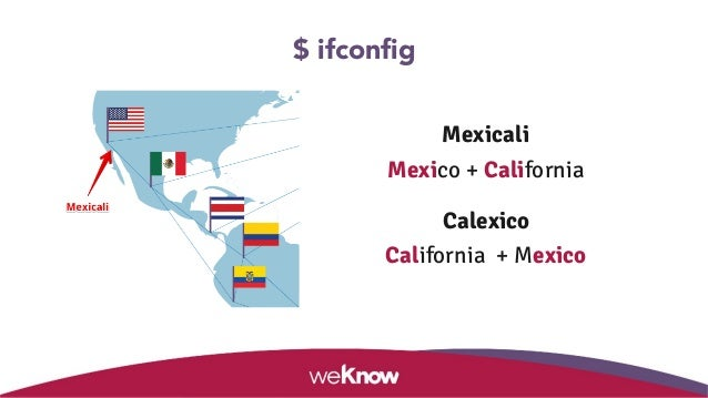 Mexicali Mexico + California Calexico California + Mexico $ ifconfig
