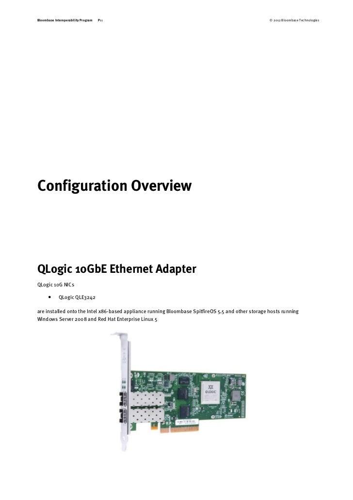 Bloombase Spitfire StoreSafe QLogic 10GbE Ethernet Adapter Interopera…