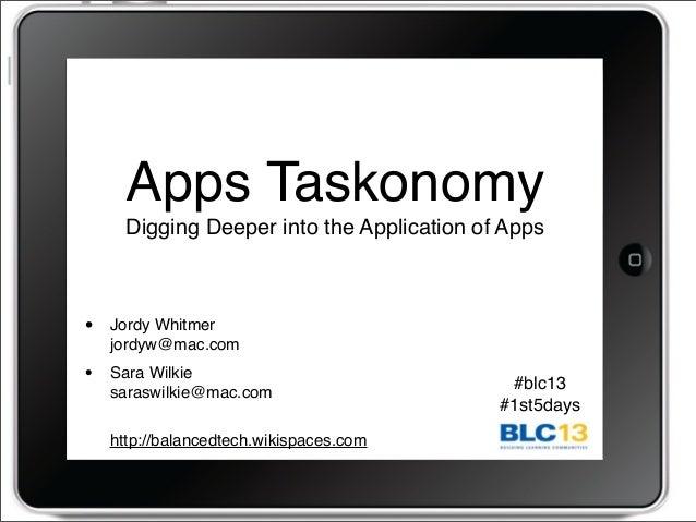 Apps Taskonomy Digging Deeper into the Application of Apps • Jordy Whitmer jordyw@mac.com • Sara Wilkie saraswilkie@mac.co...