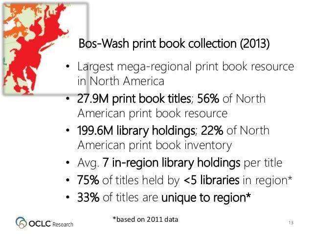 13 • Largest mega-regional print book resource in North America • 27.9M print book titles; 56% of North American print boo...