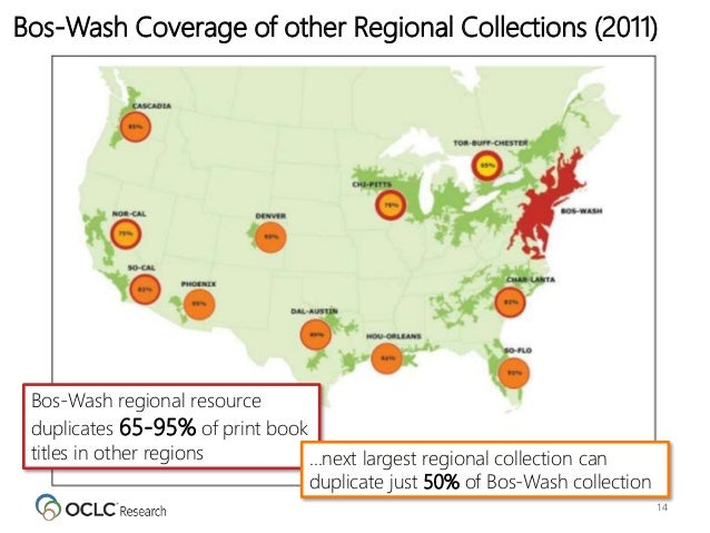 14 Bos-Wash Coverage of other Regional Collections (2011) Bos-Wash regional resource duplicates 65-95% of print book title...