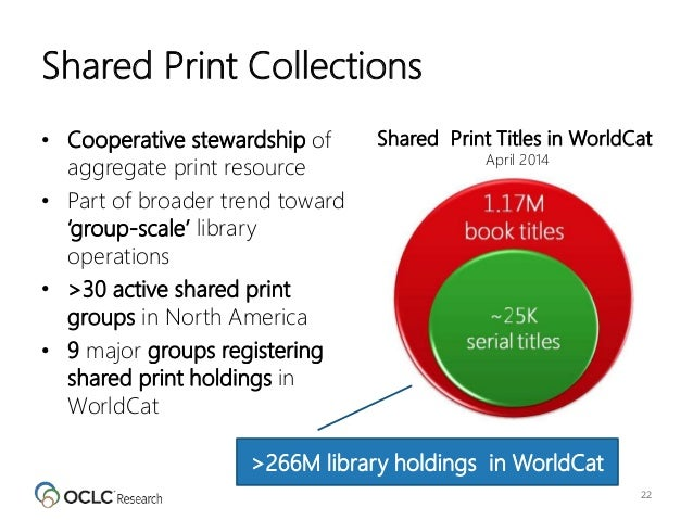 >266M library holdings in WorldCat Shared Print Collections • Cooperative stewardship of aggregate print resource • Part o...