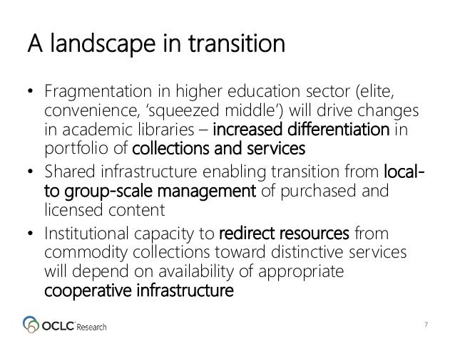 A landscape in transition • Fragmentation in higher education sector (elite, convenience, 'squeezed middle') will drive ch...