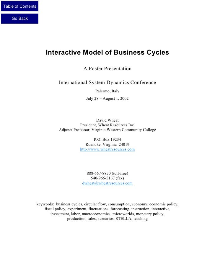 Table of Contents      Go Back                              Interactive Model of Business Cycles                          ...