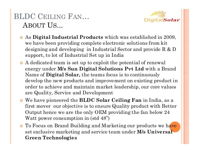 Bldc ceiling fan 230 v ac & 12v dc