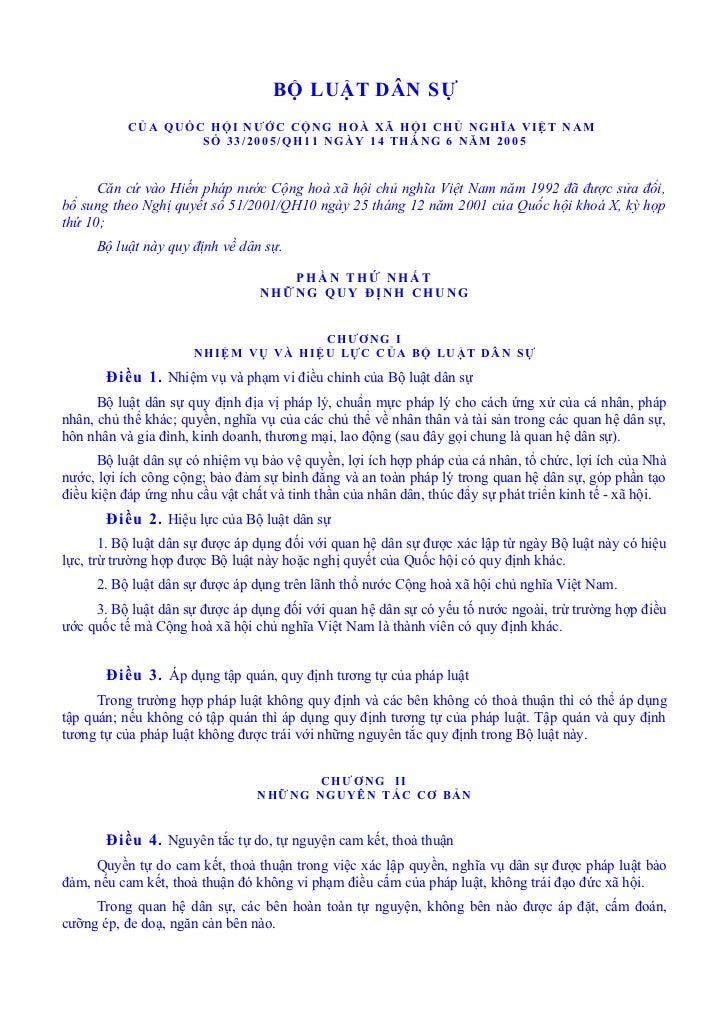 BỘ LUẬT DÂN SỰ           CỦA QUỐC HỘI NƯỚC CỘNG HOÀ XÃ HỘI CHỦ NGHĨA VIỆT NAM                   SỐ 33/2005/QH11 NGÀY 14 TH...