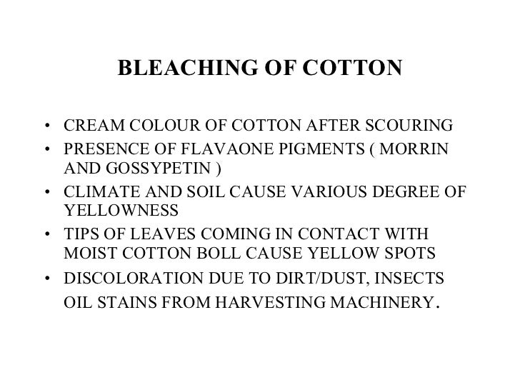 BLEACHING OF COTTON <ul><li>CREAM COLOUR OF COTTON AFTER SCOURING </li></ul><ul><li>PRESENCE OF FLAVAONE PIGMENTS ( MORRIN...