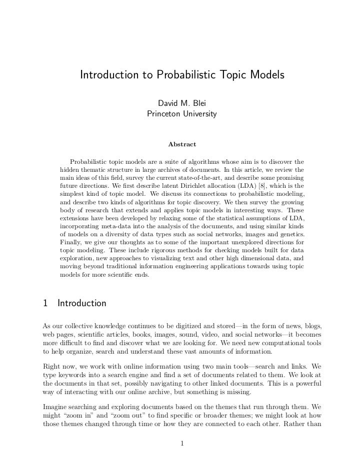 Introduction to Probabilistic Topic Models                                       David M. Blei                            ...