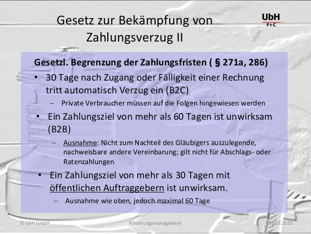 Forderungsmanagement UbH F+C © UbH GmbH 11.03.2015 Gesetz zur Bekämpfung von Zahlungsverzug II Gesetzl. Begrenzung der Zah...