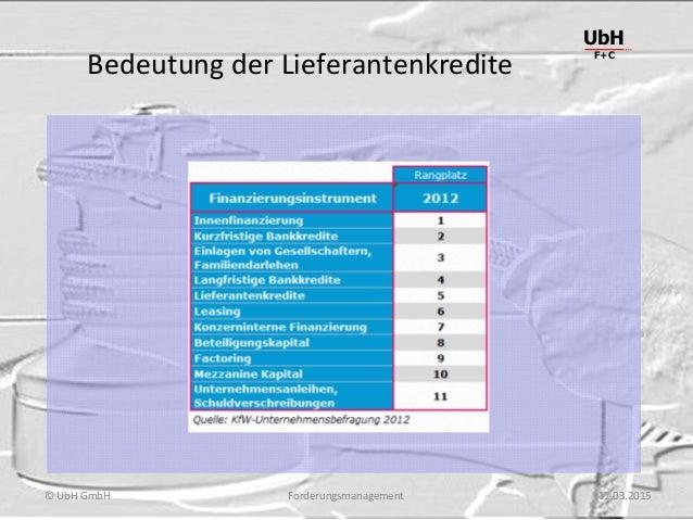 Forderungsmanagement UbH F+C © UbH GmbH 11.03.2015 Bedeutung der Lieferantenkredite
