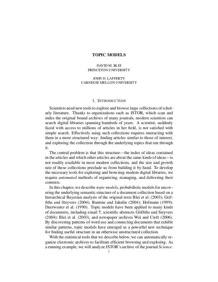 TOPIC MODELS                              DAVID M. BLEI                          PRINCETON UNIVERSITY                     ...