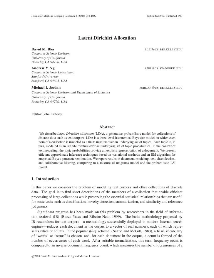 Journal of Machine Learning Research 3 (2003) 993-1022                               Submitted 2/02; Published 1/03       ...