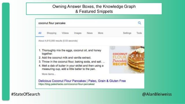 #StateOfSearch @AlanBleiweiss Owning Answer Boxes, the Knowledge Graph & Featured Snippets
