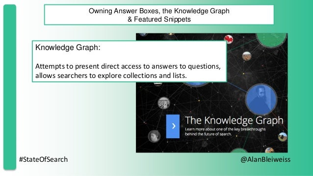 #StateOfSearch @AlanBleiweiss Owning Answer Boxes, the Knowledge Graph & Featured Snippets Knowledge Graph: Attempts to pr...