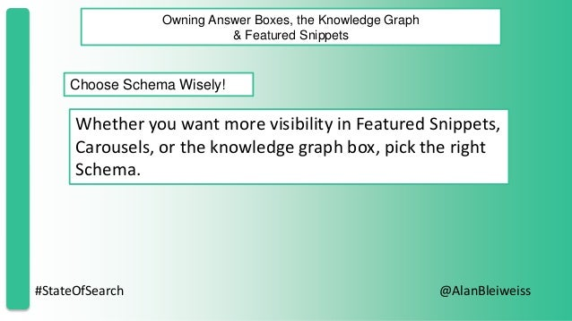 #StateOfSearch @AlanBleiweiss Owning Answer Boxes, the Knowledge Graph & Featured Snippets Choose Schema Wisely! Whether y...