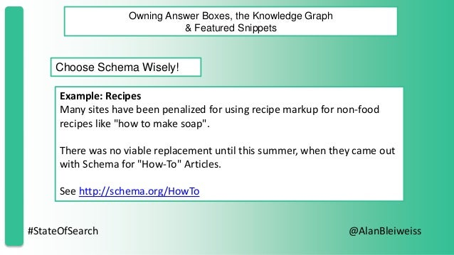 #StateOfSearch @AlanBleiweiss Owning Answer Boxes, the Knowledge Graph & Featured Snippets Choose Schema Wisely! Example: ...
